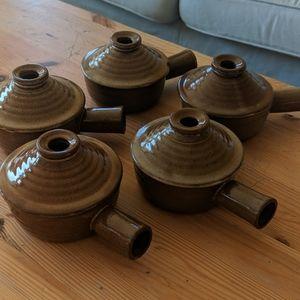 Brown crock bowls tagine